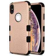 Military Grade Certified TUFF Hybrid Armor Case for iPhone XS Max - Carbon Fiber Rose Gold