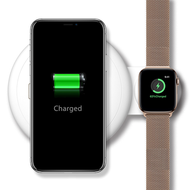 Dual 10W Fast Qi Wireless Charging Pad + Apple Watch Magnetic Charger Dock - White