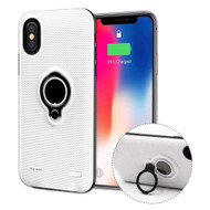 Smart Power Bank Battery Charger Case 5000mAh with Ring Holder for iPhone XS / X - White