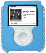 Handmade Leather Case for 3rd Generation iPod Nano (Baby Blue)