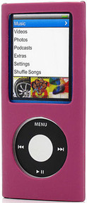 Leather Hard Shell Case for 4th Generation iPod Nano 4G (Hot Pink)
