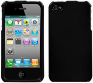 Snap-On Acrylic Shell Case and Screen Protector for Apple iPhone 4 / 4S - Black