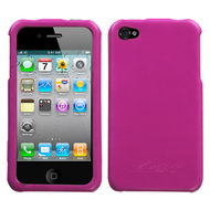 Executive Leather Acrylic Case and Screen Protector for iPhone 4 / 4S - Hot Pink