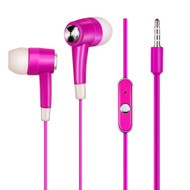 Noise Isolating Stereo Earphones Hands-free Headset with Mic - Hot Pink