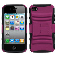 Advanced Armor Hybrid Kickstand Case and Screen Protector for iPhone 4 / 4S - Hot Pink