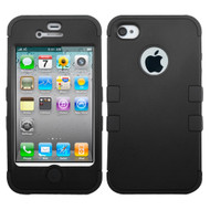 Military Grade TUFF Hybrid Case and Screen Protector for iPhone 4 / 4S - Black