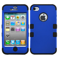 Military Grade Certified TUFF Hybrid Case and Screen Protector for iPhone 4 / 4S - Blue Black