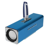 Aluminum Boombox Stereo Speakers with FM Radio and USB Flash Drive / Micro SD Card Player - Blue