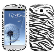 Graphic Rubberized Protective Gel Case for Samsung Galaxy S3 - Zebra