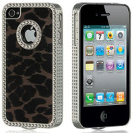 *CLEARANCE* Exotic Diamond Chrome Case and Screen Protector for iPhone 4 / 4S - Leopard Velvet Brown