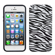 Graphic Rubberized Protective Gel Case and Screen Protector for iPhone SE / 5S / 5 - Zebra