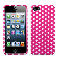 Snap-On Protective Image Case and Screen Protector for iPhone SE / 5S / 5 - Polka Dots Pink