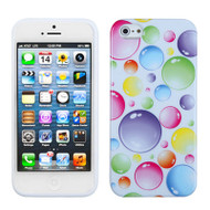 Graphic Rubberized Protective Gel Case and Screen Protector for iPhone SE / 5S / 5 - Rainbow Bubbles