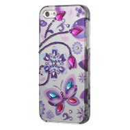 *CLEARANCE* Graphic Rhinestone Case and Screen Protector for iPhone SE / 5S / 5 - Dancing Butterfly