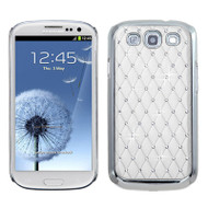 *CLEARANCE* Luxurious Chrome Spot Diamond Case for Samsung Galaxy S3 - White