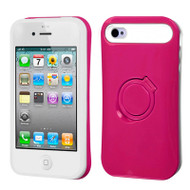 Bandstand Fusion Case and Screen Protector for iPhone 4 / 4S - Hot Pink White