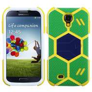Goalkeeper Hybrid Kickstand Armor Case for Samsung Galaxy S4 - Green Blue Yellow
