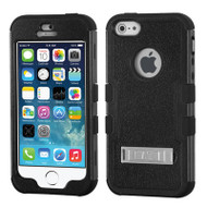 Military Grade Certified TUFF Hybrid Kickstand Case for iPhone SE / 5S / 5 - Black