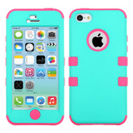 Military Grade TUFF Hybrid Case for iPhone 5C - Teal Hot Pink