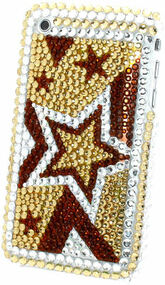 Bling Bling Crystal Back Cover for Apple iPhone 3G / 3GS (Stars/Gold)