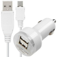 3.1A Dual USB Car Charger + Micro USB Cable - White