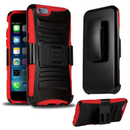 *SALE* Advanced Armor Hybrid Kickstand Case with Holster for iPhone 6 Plus / 6S Plus - Black Red
