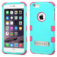 Military Grade Certified TUFF Hybrid Kickstand Case for iPhone 6 Plus / 6S Plus - Teal Hot Pink