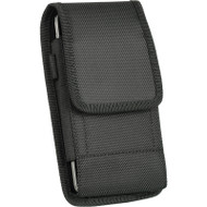 *SALE* Ballistic Nylon Vertical Hip Pouch Case with Carabiner Clip - Black