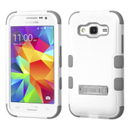 Military Grade Certified TUFF Hybrid Kickstand Armor for Samsung Galaxy Core Prime / Prevail LTE - White Grey