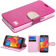Glitter Leather Wallet Case for Samsung Galaxy Avant - Hot Pink