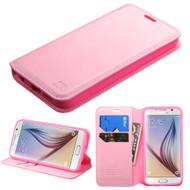 Book-Style Leather Folio Case for Samsung Galaxy S6 - Pink