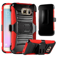 *SALE* Advanced Armor Hybrid Kickstand Case with Holster for Samsung Galaxy S6 Edge - Black Red