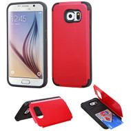 Credit Card Hybrid Kickstand Case for Samsung Galaxy S6 - Red