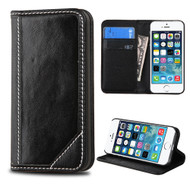 Mybat Genuine Leather Wallet Case for iPhone SE / 5S / 5 - Black