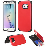 Credit Card Hybrid Kickstand Case for Samsung Galaxy S6 Edge - Red