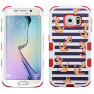 Military Grade Certified TUFF Image Hybrid Case for Samsung Galaxy S6 Edge - Nautical Stripes