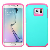 Hybrid Multi-Layer Armor Case for Samsung Galaxy S6 Edge - Teal Hot Pink