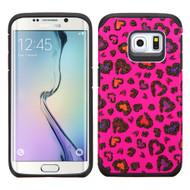 Hybrid Multi-Layer Armor Case for Samsung Galaxy S6 Edge - Glittering Leopard Hot Pink