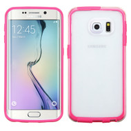 Bumper Frame Transparent Hybrid Case for Samsung Galaxy S6 Edge - Hot Pink