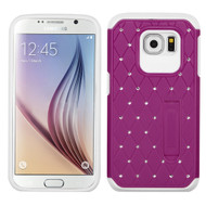 Luxurious Elite Dazzling Diamond Hybrid Case for Samsung Galaxy S6 - Hot Pink White