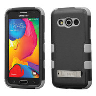 Military Grade TUFF Hybrid Kickstand Case for Samsung Galaxy Avant - Black Grey