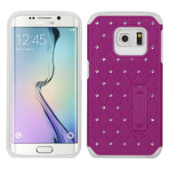 Luxurious Elite Dazzling Diamond Hybrid Case for Samsung Galaxy S6 Edge - Hot Pink White