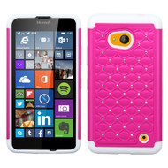 *SALE* TotalDefense Diamond Hybrid Case for Microsoft Lumia 640 - Hot Pink White