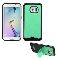 Bumper Frame Multi-View Hybrid Case for Samsung Galaxy S6 Edge - Green