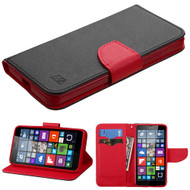 Diary Leather Wallet Case for Microsoft Lumia 640 - Black Red