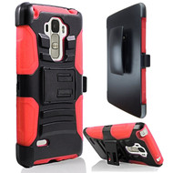 Advanced Armor Hybrid Kickstand Case with Holster for LG G Stylo / Vista 2 - Black Red