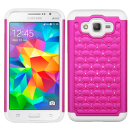 TotalDefense Diamond Hybrid Case for Samsung Galaxy Grand Prime - Hot Pink White