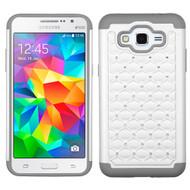 TotalDefense Diamond Hybrid Case for Samsung Galaxy Grand Prime - White Grey