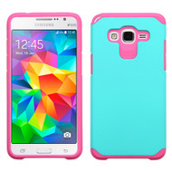 Hybrid Multi-Layer Armor Case for Samsung Galaxy Grand Prime - Teal Hot Pink