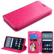 Book-Style Leather Folio Case for LG G Stylo / Vista 2 - Hot Pink